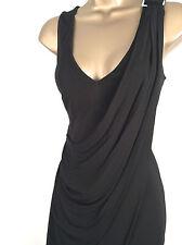 New KAREN MILLEN Jersey Draped Dress Black Size 8