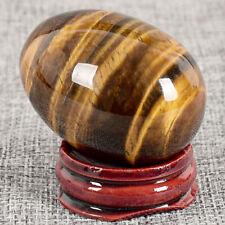 Natural Crystal Quartz Tiger Eye Stone Egg Sphere Gemstone+Display Stand 48x36mm
