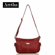 Fashion Casual Aretha Genuine Leather Women Shoulder bags Messenger Satchel Red