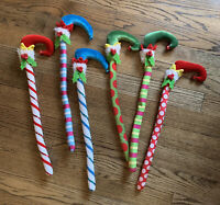 Lot 6 Christmas Holiday Elves Legs Candy Cane Craft Tree Decor