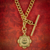 ANTIQUE ALBERT CHAIN NECKLACE STERLING SILVER 18CT GOLD GILT DATED 1920