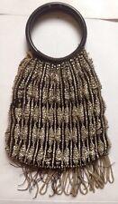 Antique/Vtg Victorian Fringe Handbag/Purse Glass Beaded Bag Round Etched Handles