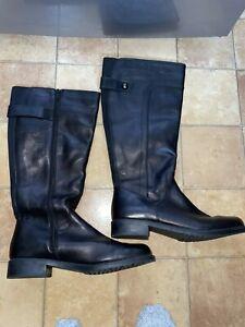 TLC Black Leather Knee Length Ladies Boots, Size 7 (EU 40.5), Excellent Conditio