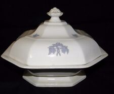 ADDERLEY~ CHELSEA SMOOTH WHITE PORCELAIN COVERED SERVING DISH~RAISED BLUE GRAPES
