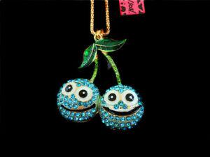 Betsey Johnson Blue Crystal Enamel Charm Cherry Pendant Sweater Chain Necklace