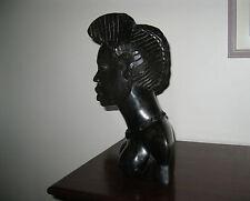 TETE AFRICAINE SCULPTEE EN EBENE BUSTE