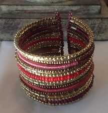 Cara Accessories Gold- Tone Beaded And Thread Wrapped Cuff Bracelet
