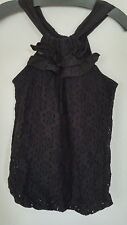 Anthropologie Ella Moss Black Floral Lace Lined Stretch Ruffled Tank Small New