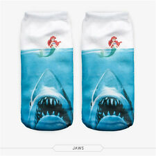 Hot Sale Ladies girls 3D footie no show socks UNICORN SHARK Jaws Mermaid Ariel