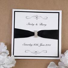 silver diamanté  black trimmed  wedding invitation (sebastian)
