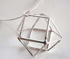 14-Sided Silver Ball of Triangles and Squares Necklace 925 Sterling Silver