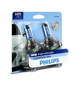 NEW 2 Pack Philips H11 CrystalVision Ultra Upgrade Bright White Headlight Bulb