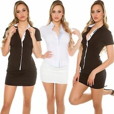 Damen Business Hemd Bluse Tunika Shirt Stretch tailliert 34 36 38 Büro Business