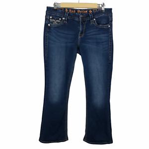 Rock Revival Women's Betty Easy Boot Jeans Size 29 Embellished Fleur De Lis Blue