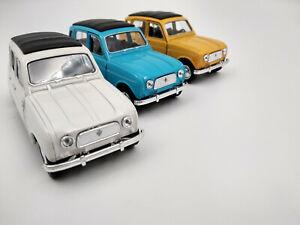 Lot de 3 Renault 4L en métal longueur 11,5cm neuves,blanche-jaune-bleue