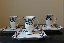 Andrea by Sadek Set of 3 HAND PAINTED ART NOUVEAU FLORAL CUPS AND PLATES New