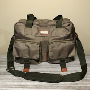 """Carters Utility Tote Diaper Baby Bag Khaki Forest Green Magnet Closure 17"""" x 12"""""""