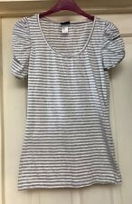 H&M Grey Top Striped Gathered Sleeve Cotton Size 10-12