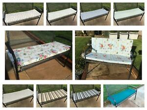 2 seater garden bench pads/cushions  fully zipped 45 inches long with ties