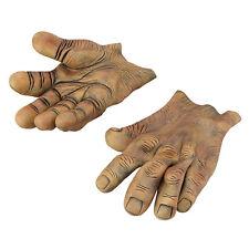 GIANT BROWN #VINYL HANDS FANTASY MONSTER HALLOWEEN HORROR MOVIE FANCY DRESS
