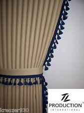 LKW Scheibengardinen passend für IVECO STRALIS beige dunkelblau +Gardinenhacken