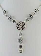 """Charming Black and Grey Pewter and Rhinestone Floral Design Necklace 16"""" Chain"""