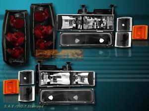 94-98 Chevy C10 FULL SIZE HEADLIGHTS CORNER BUMPER LIGHTS+TAIL LIGHTS DARK SMOKE