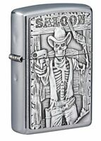 "Zippo Saloon Skull Emblem Street Chromeâ""¢ Windproof Pocket Lighter, 49298"