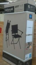 Lafuma Anytime Folding Armchair - Black Steel Frame with Aqua Batyline Duo Fabri