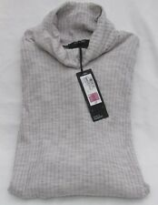 Ladies Marks and Spencer Autograph Grey Marl Ribbed Polo Neck Jumper Size 18