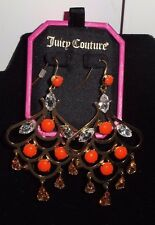 Juicy Couture Orange/ Coral Rhinestone Chandelier Earrings YJRU6756 S/O $58