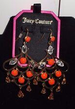 Juicy Couture Orange/ Coral Rhinestone Chandelier Earrings YJRU6756 S/O $58