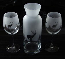Scottish Stag gift 3 piece wine carafe set (highland scene)...BOXED