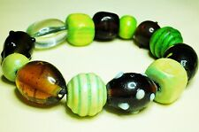 Large Bead Bracelet Green Wood Brown Glass Plastic Bead Stretch/Adjustable