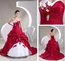 New White/Red Bridal  Lace Bridal Gown Wedding Dress Custom Size 6-22