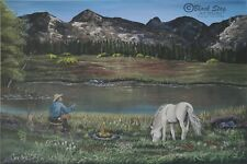 Fireside soliloquy Cowboy by Lake Horse painting original mountains landscape