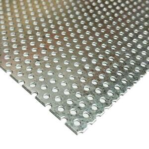 """Galvanized Steel Perforated Sheet 0.034"""" x 12"""" x 24"""", 3/32"""" Holes"""