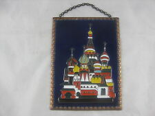 Moscow Red Square Saint Basil's Cathedral On Copper Plate With Enameling
