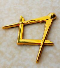 Masonic Master Mason Square & Compass Cut Out Car Auto Emblem GOLD Plated Metal