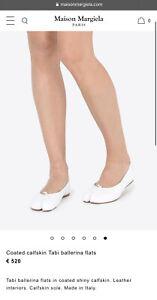 500€ Maison Martin Margiela Tabi Ballet Flats Leather Toe White Sz 38 GREAT COND