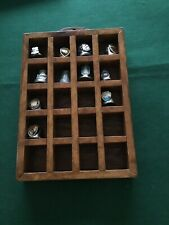 Pewter/tin Thimbles In Display Case