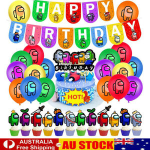 Among Us Game Birthday Party Supplies Banner Cake Toppers Balloons Decoration