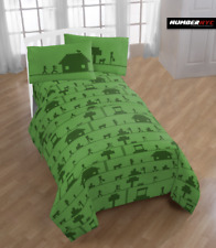 MINECRAFT 3 Piece Microfiber Twin Bedding Sheet Set Pillowcase Kids Teens Child