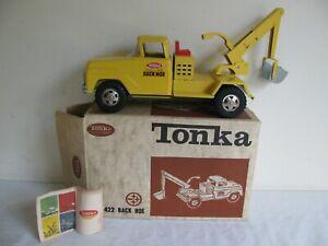 Vintage 1964 Tonka Toys Yellow Backhoe Truck w/ Box & Look Book #422 EX