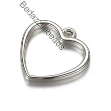 Lot of 20 Silver Plastic Acrylic 3/4 inch Open Heart Dangle Charms w/ Metal Look