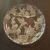 Clear Glass Etched Frosted Hummingbird Floral Relish Appetizer Tray 4 Sections
