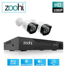 Zoohi Home Security Camera System Outdoor 1080P 4Ch Wired Cctv Ip67 Waterproof