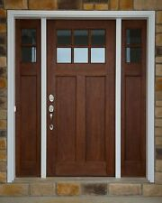 Craftsman 6 Lite Clear Alder Front Entry Door  with (2) Sidelights