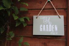 Wooden Sign Plaque Life's A Garden Dig It Home Wall Door Garden Hanging Decor