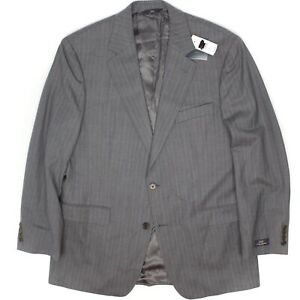 Brooks Brothers Mens Suit Coat 42R Gray Light Blue Pinstripe Stretch Wool Blend